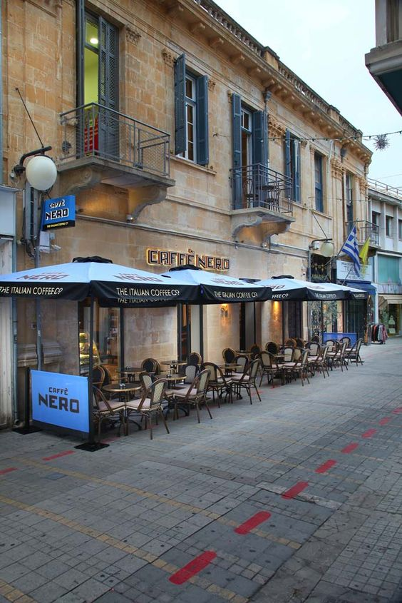 Caffe Nero Cyprus. Old stone streets and building.