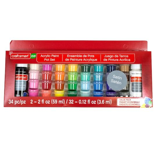 Satin Acrylic Paint Pot Value Pack By Craft Smart Painted Pots