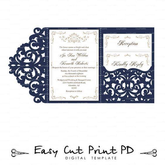 Wedding Invitation Set Of Tri Fold Lace Pocket Envelope 5x7