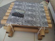 Rosa Luiza Artesanatos: Mesa com tubos de papelão e  vidro de fogão! …