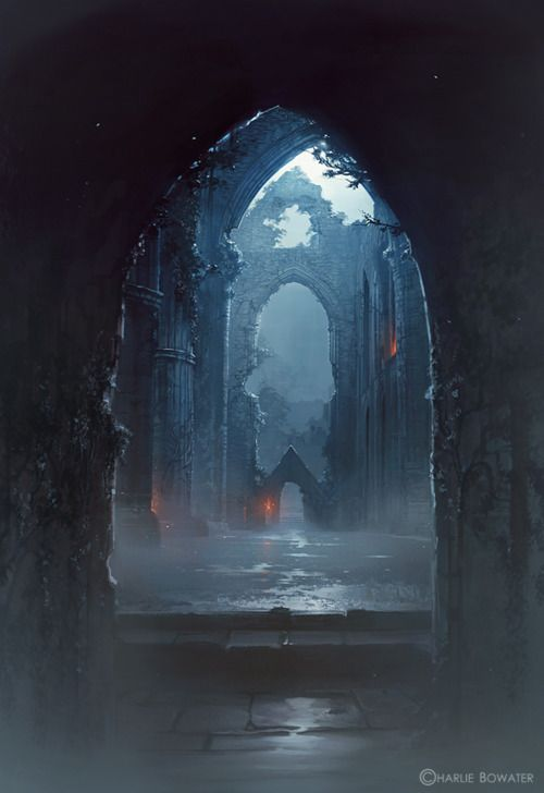 charliebowater: Another work in progress…but I don't know if it's a work in progress or if I'm going to leave it like this? Painted to the Game of Thrones season 2 score which was wonderfully trippy. Photo texture from my some pictures I took at Tintern Abbey: http://imageshack.us/photo/my-images/826/tinternref.jpg/ Photoshop CS5 & Wacom Intuos 4.: