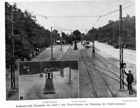 """Straßenbahn Stettin--Endhaltestelle """"Rennbahn""""der Linie 1"""