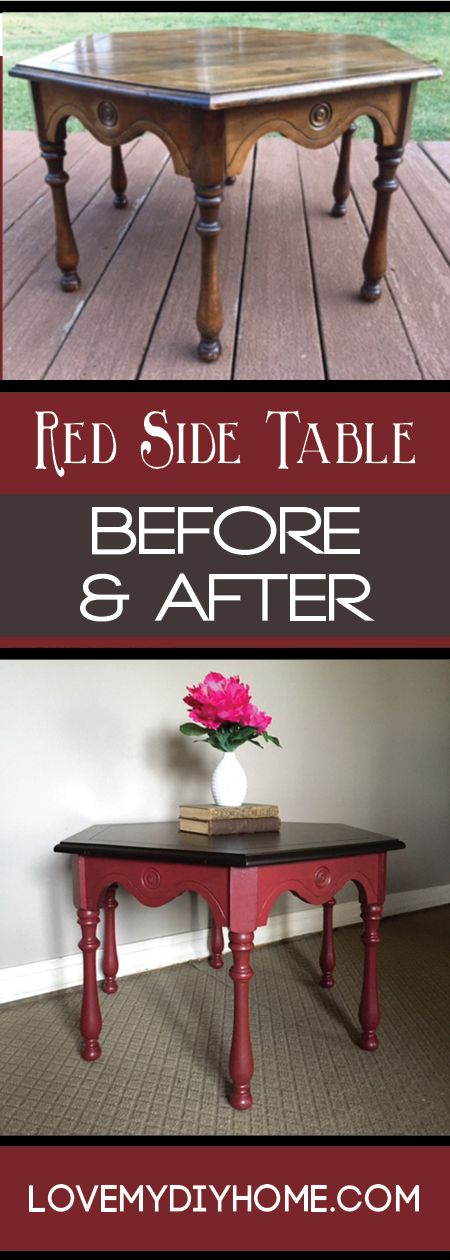 Take an old boring side table that you'd find at any garage sale and redo it to make it trendy - RED...are you brave enough? {Love My DIY Home}  #DIY  #LoveMyDIYHome #paintedfurniture
