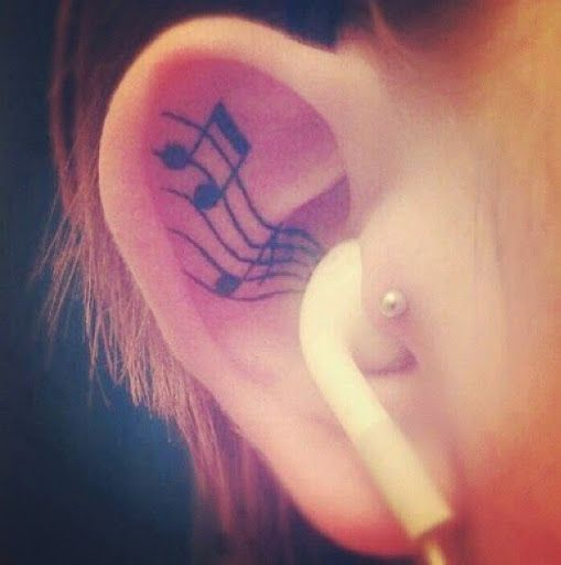 Tattoo note de musique l 39 int rieur de l 39 oreille https for Interieur oreille