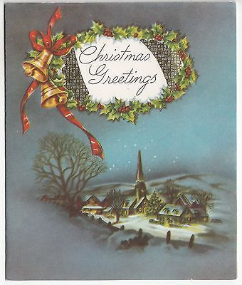 Vintage Village Winter Bells Holly Christmas Greeting Card