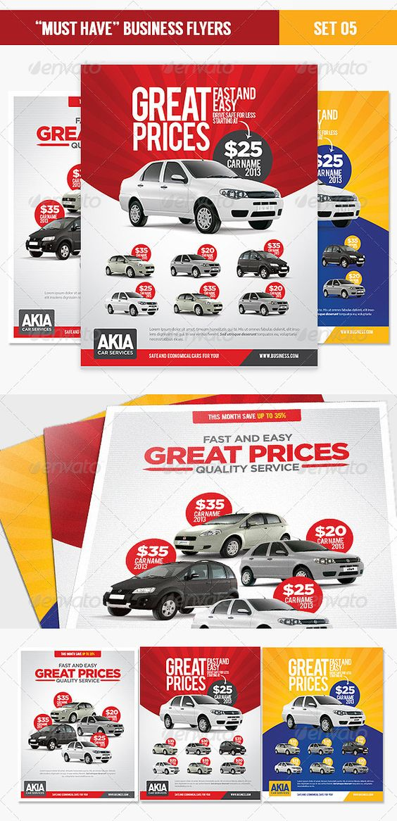 """""""Must Have"""" Business Flyers – Set 05 Car Services This template is perfect for a Car Dealer, Auctions, Rentals, Leasing business that needs a modern corporate style flyer or magazine advertising template. The final file contains 3 PSD files. Cars models are not included, just place your own photos. http://startupstacks.com/print-templates/must-business-flyers-set-05-car-services.html - free download"""