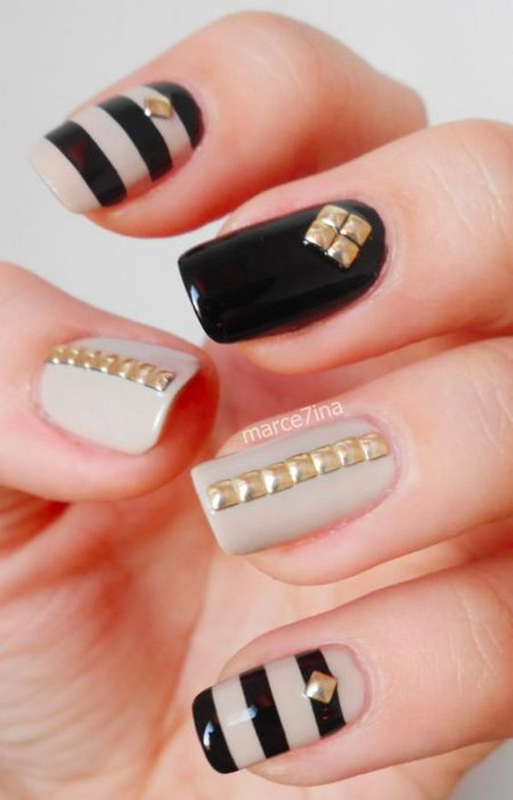 Gold Square Studded Nails. Such beautiful colors, cannot wait to try them!: