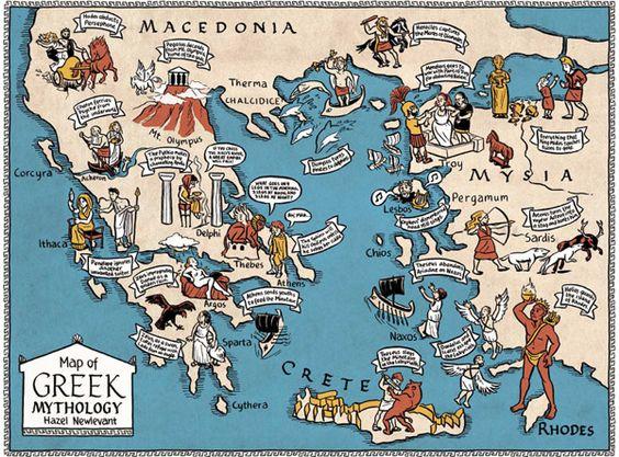 Map of Greek Mythology by Hazel Newlevant, via Behance