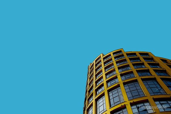 London skyline in yellow and blue