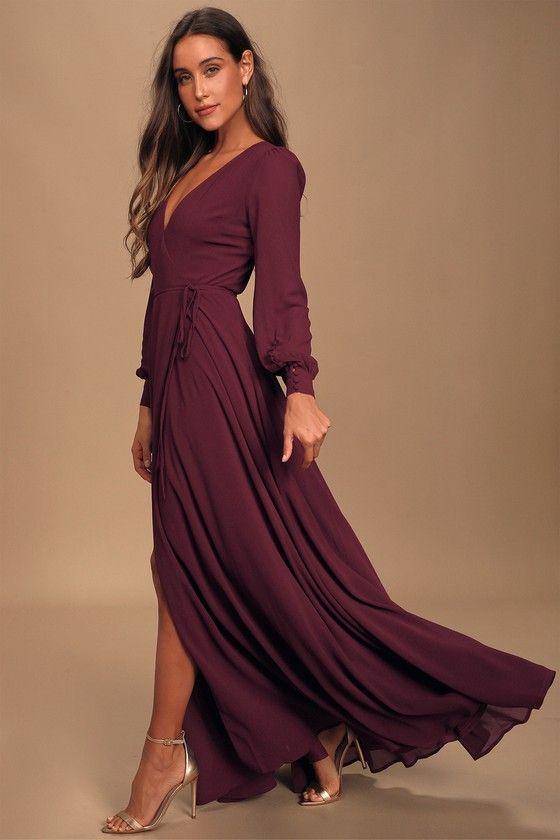 My Whole Heart Plum Long Sleeve Wrap Dress In 2020 Wrap Dress Maxi Dresses Fall Long Sleeve Wrap Dress