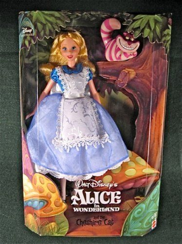 1999 Alice in Wonderland Barbie Doll with Cheshire Cat Disney Collector by Mattel
