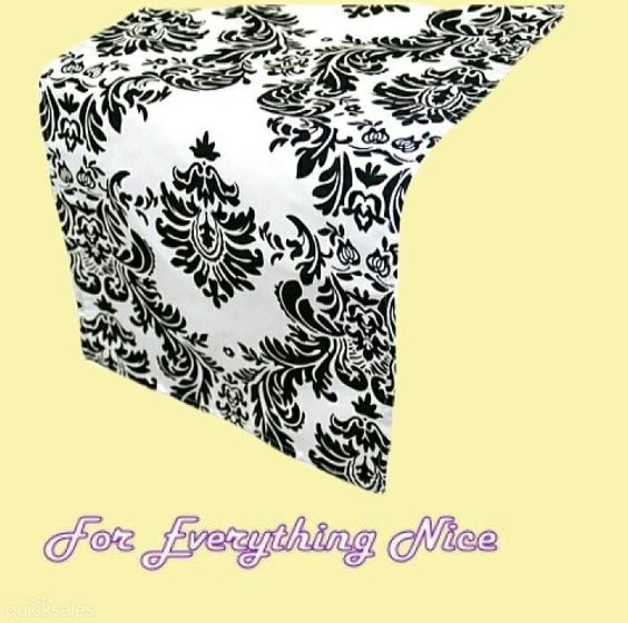 Black White Damask Flocking Taffeta Wedding Table Runners Decorations x 5 For Hire by JRMB7339 - $30.00