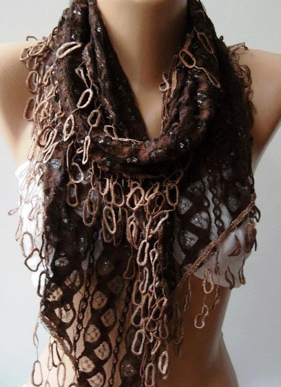 Brown Lace and Elegance Shawl / Scarf  with Lace Edge by womann, $19.90