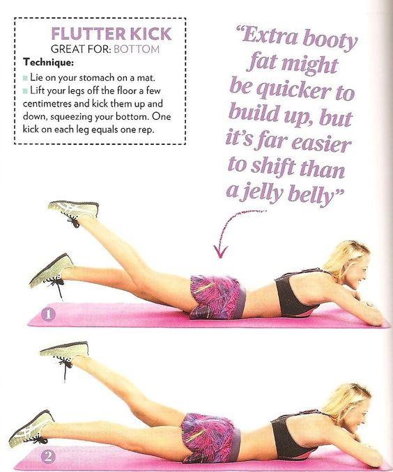PRONE FLUTTER KICK | Legs and Butt Exercises | Pinterest ...