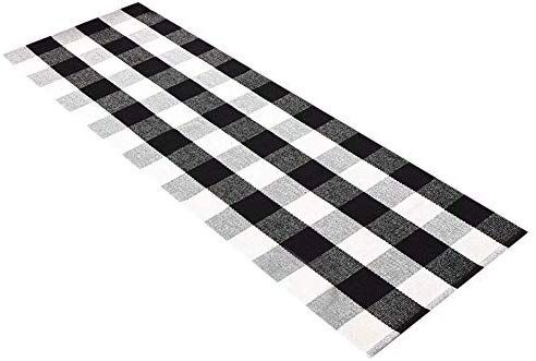 Amazon Com Ukeler Buffalo Check Rug Black And White Plaid Rugs Cotton Hand Woven Checkered Carpet Was Checkered Floors Cushions On Sofa Kitchen Rugs And Mats