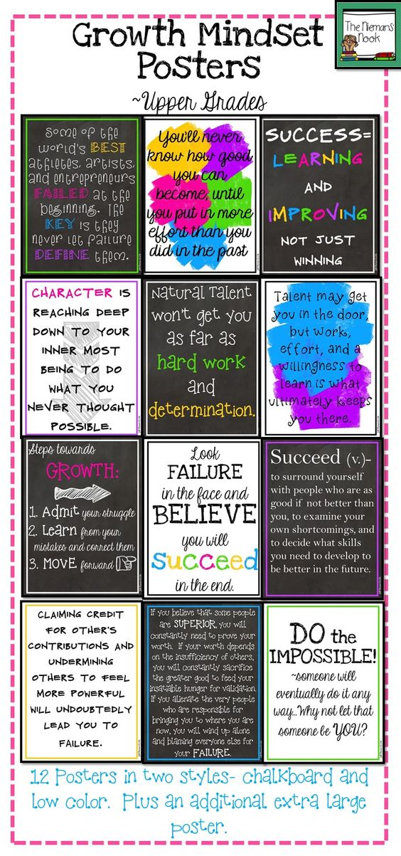 Growth Mindset Posters Upper Grades Mindset And Growth