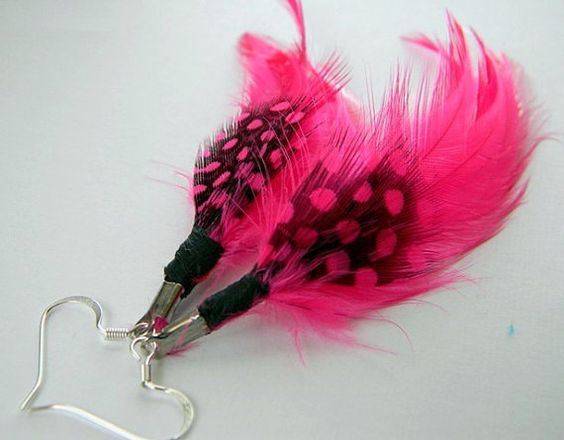 Hot Pink Feather Earrings by RosesDesigns on Etsy, $14.00