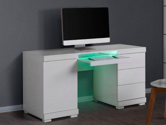 Bureau Pluton Mdf Laque Blanc Leds 1 Porte 3 Tiroirs Schreibtisch Schreibtisch Weiss Eckschreibtisch Weiss