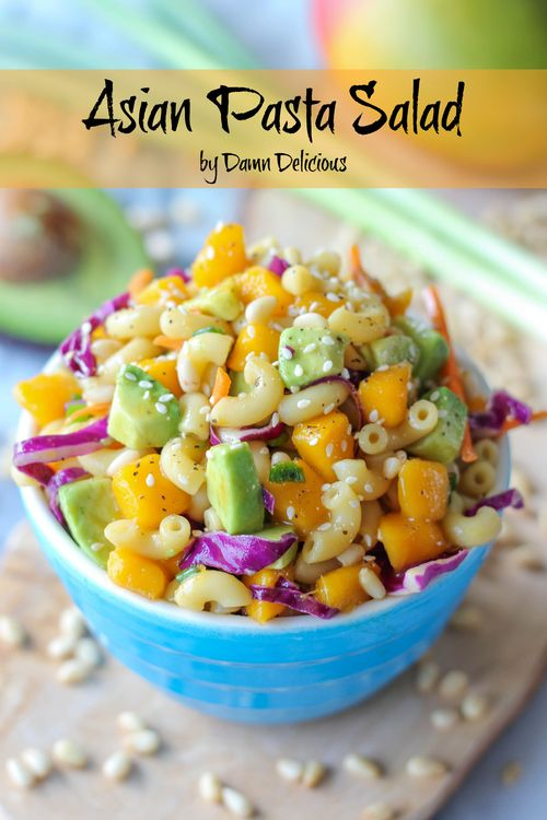 Asian Pasta Salad - slaw, mangoes, avocado, pasta, seasame seeds, asian vinegarette