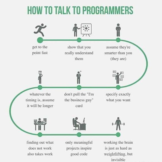 How talk to programmers  #coding #software #programing #javascript #apple #android #ios #osx #windows10 #softwareengineering #developers #twitch #twitchtv #steamgaming #steam #mac #applewatch #iphone #iphone6s #linux #counterstrike #battlefield #ps3 #ps4 #xboxone #callofduty #minecraft #gamers #gamergirl #gamerboy  Source: @mohamad_kala3ji by deanknockwell