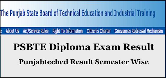 Psbte Result 2019 Punjabteched Com Diploma 1st 3rd 5th Sem Results