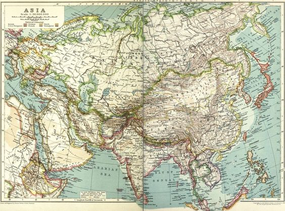 Cool vintage map of Asia. So much has changed since 1910. Would be great for scrappin or homeschooling.