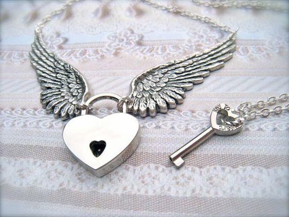 KEY To My HEART  Winged Heart Padlock and by MegsBrokenWings, $49.00 ~ www.megsbrokenwings.com