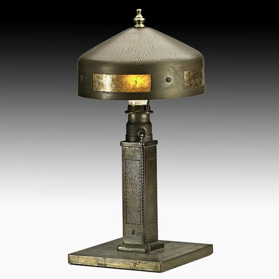 ROYCROFT  Helmet shade table lamp, East Aurora, NY, 1920s