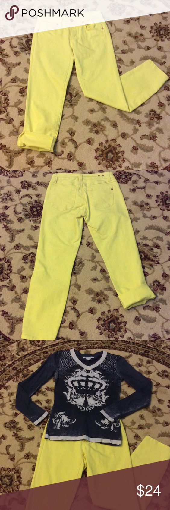 """💕 CAbi Cropped Bree Jean in Citron 💕 These cute highlighter yellow colored capris are surprisingly versatile with many colors!  Put them with white, gray, denim, navy, or black for a real fun look!  They have front & rear pockets & can be rolled up to any length desired.  Measures 13"""" at waist, 11"""" rise & 34"""" length. CAbi Pants Capris"""