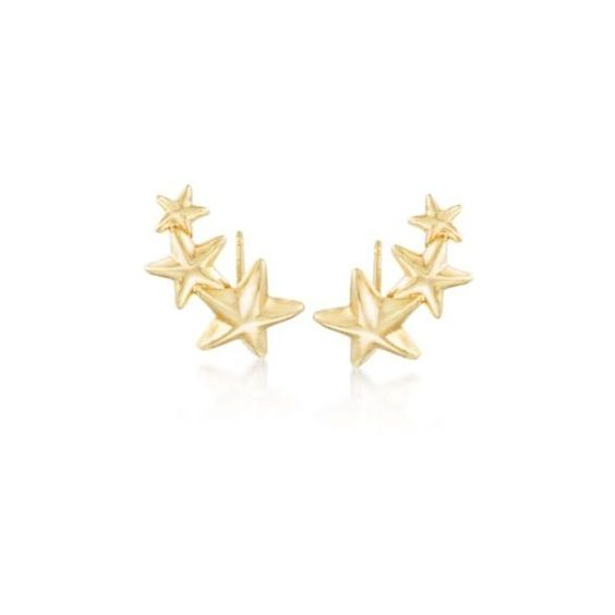 Ross-Simons 14kt Yellow Gold Star Ear Crawlers (105 CAD) ❤ liked on Polyvore featuring jewelry, earrings, yellow gold, star earrings, yellow gold earrings, ross-simons, gold jewelry and gold star jewelry