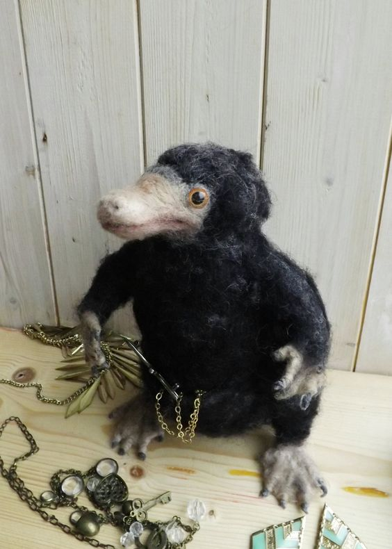 Niffler, fantastic beasts inspired needle felted sculptureready to ship. by WaggledanceArt on Etsy