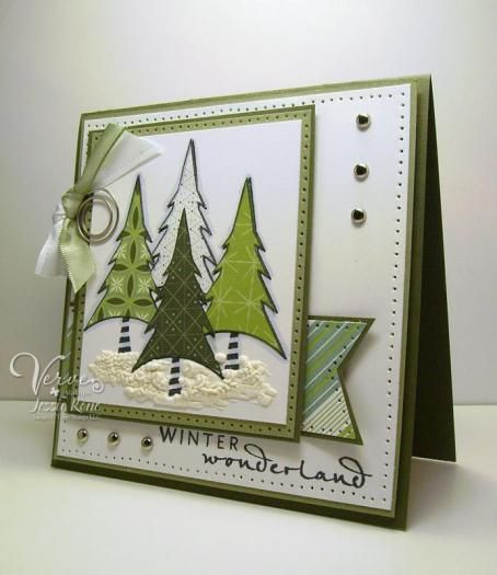 Stamps:  Christmas in the Air   Paper:  Always Artichoke, Mellow Moss, and DP from SU.  Ink:  Memento Tuxedo Black  Accessories:  Su brads, SU ribbons, Spiral clip from Joann's, liquid applique