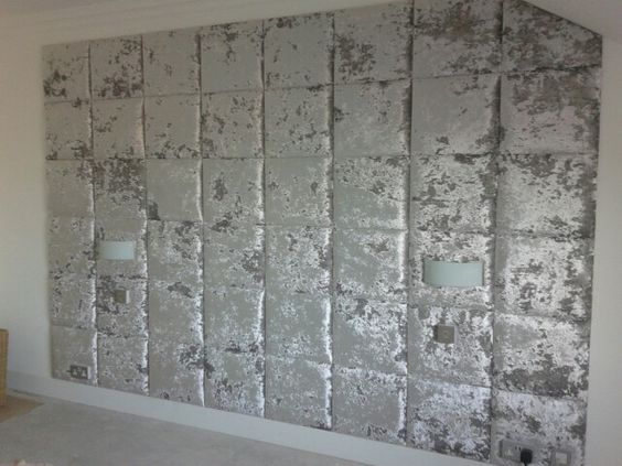 Ta da feature wall silver crushed velvet wall tiles for Padded wall wallpaper