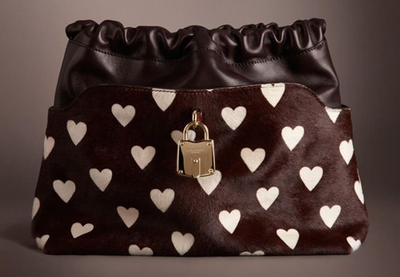 Burberry Crush in Heart Print Calfskin and Leather Clutch Bag