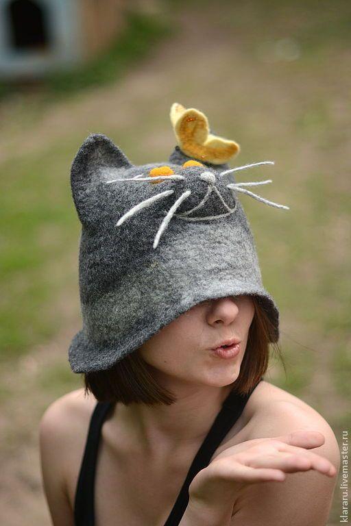 "Шапка в баню ""Из жизни кошачьих"", войлок - шапка в баню,кот,бабочка,серый"
