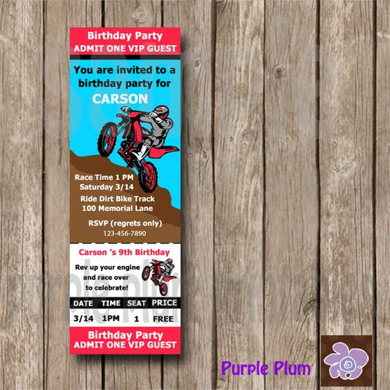 Invite Dirt bike Invite Personalized Dirt by PurplePlumPrintables