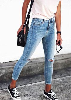 Cropped denim + chucks.