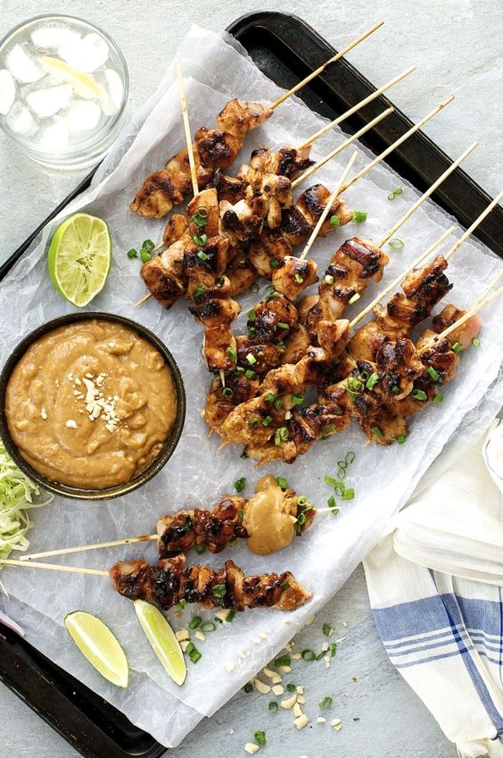 Satay Chicken with Peanut Sauce (Indonesian / Bali version) - the easiest of all South East Asian satays, a handful of ingredients you can get from the supermarket. Thick, chunky peanut sauce!