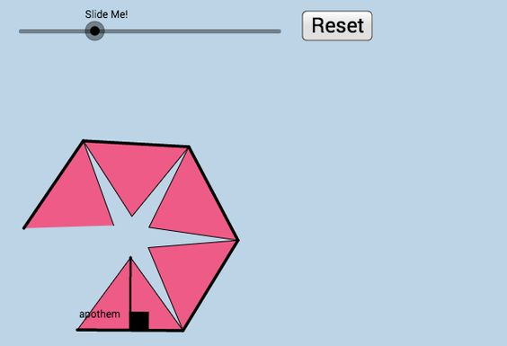 An alternate way for students to discover the formula for the area of a regular polygon.    (In this case, n = 5 --Regular Pentagon).