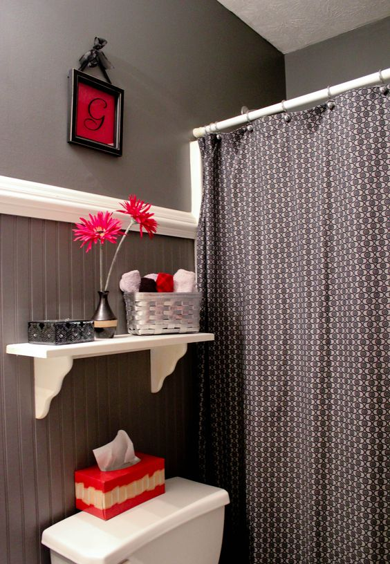 Gray black and red bathroom bathroom ideas pinterest for Black white and red bathroom ideas