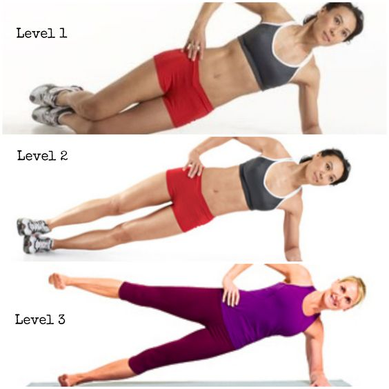 Levels for many types of planks. Master each level until you can hold it for 90 sec while keeping good form. Then level up!