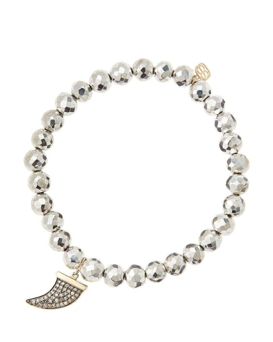 6mm Faceted Silver Pyrite Beaded Bracelet with 14k Gold/Diamond Medium Horn Charm (Made to Order)