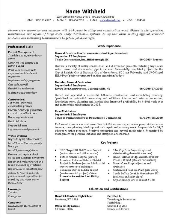 Best resume format, Best resume and Resume format on Pinterest - construction superintendent resume templates