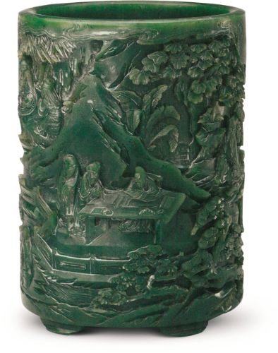 ade brush pot carved with the Elegant Gathering at the West Garden © Collection of the Palace Museum, Beijing