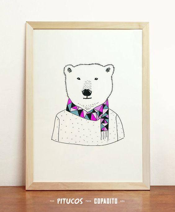Ours polaire Art giclée Print affiche Animal moderne par Pitucos