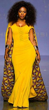 This African print caped maxi dress is made of soft stretchy cotton lined with…