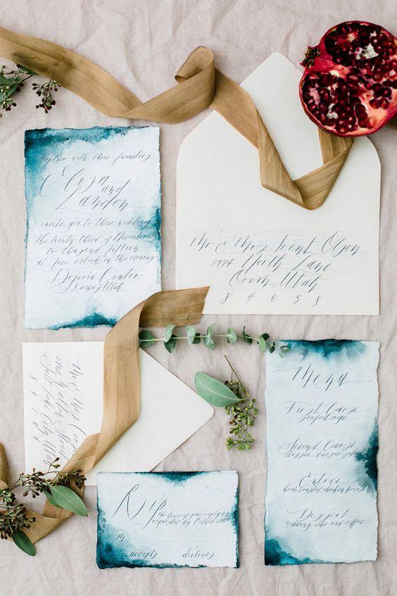 Indigo wedding invitation suite