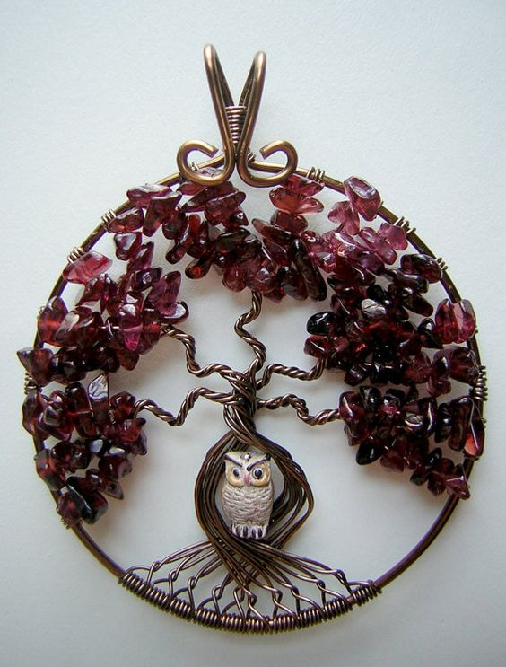 Red Garnet Tree of Life Wire Wrapped Pendant by RachaelsWireGarden, $55.00: