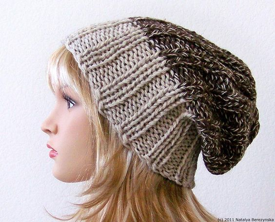 Knitting Pattern Knit Slouchy Beanie Pattern Slouchy Hat Pattern