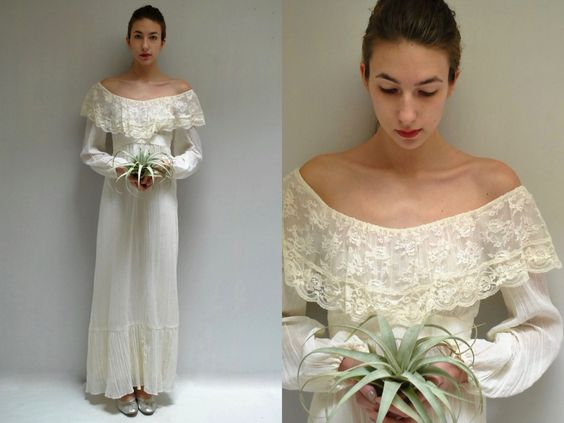 70s Boho Wedding Dress  //  Off the Shoulder Dress  //  WOODLAND MUSE by VintageUrbanRenewal on Etsy